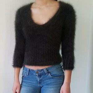 Express angora hair fuzzy crop sweater
